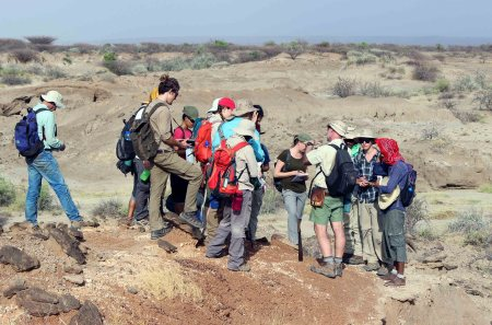 """Prof. Feibel shows TBI students how to identify the """"main fish bed"""" layer. The main fish bed is very useful in this region to understand where you are in geologic time."""