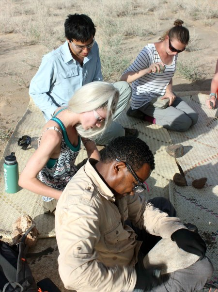 The students work hard at practicing their tool-making skills.