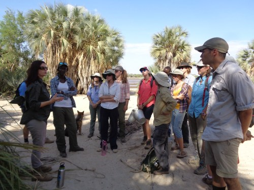 Dr. Harmand explains to the students how this area is a prime spot for collecting nuts