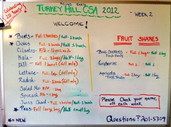 Week 2 farm pickup board.