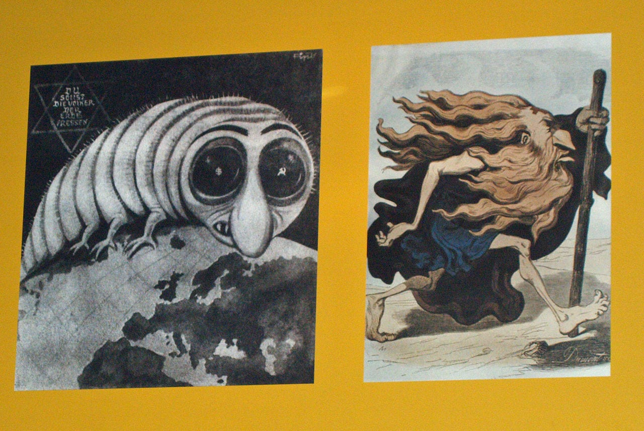 Nazi Almanyası'nda iki yaygın Yahudi tasviri: solda, kapitalist/komünist küresel parazit tasviri; sağda ise, gezgin Yahudi