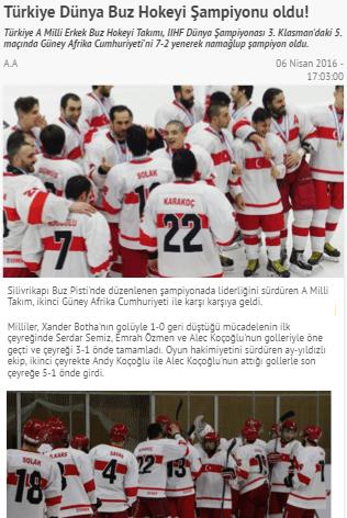 Türkiye 3. klasmanda buz hokeyi dünya şampiyonu oldu