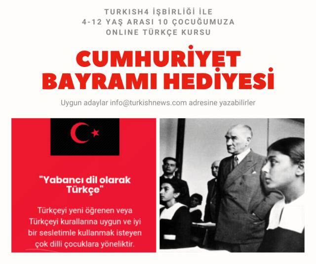 Cumhuriyet Bayramı hediyesi online Türkçe kursu