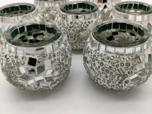mosaic candle holder white
