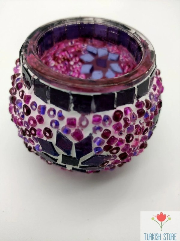 pink mosaic candle holder