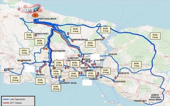 نقاط الانطلاق لخطوط المواصلات المتعلقة بمطار اسطنبول الجديد Turksham