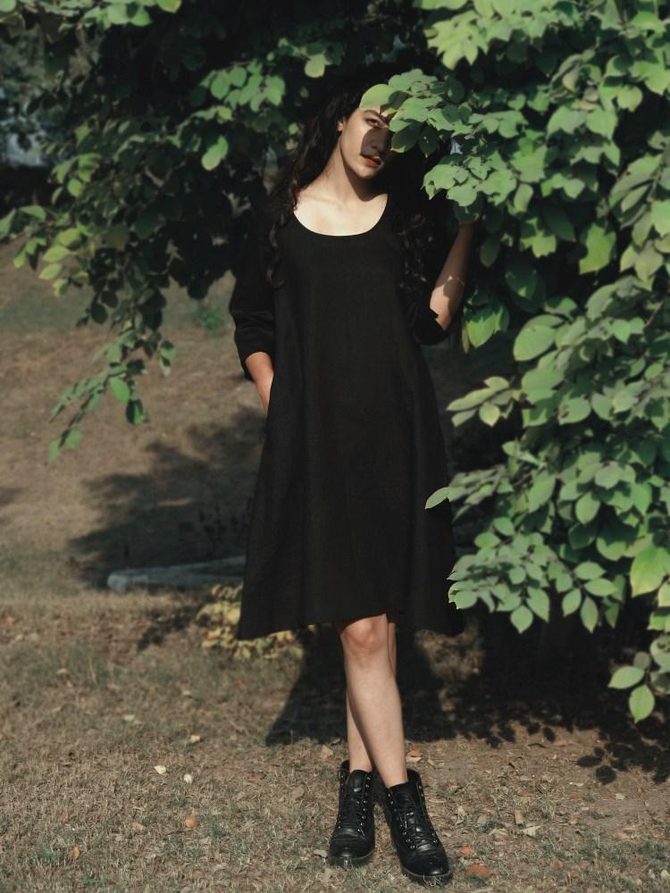 Black Short Shift Linen Dress
