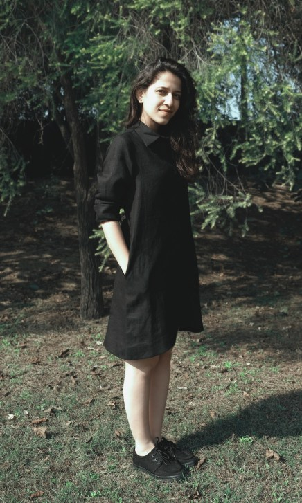 Black Linen Shirt Dress