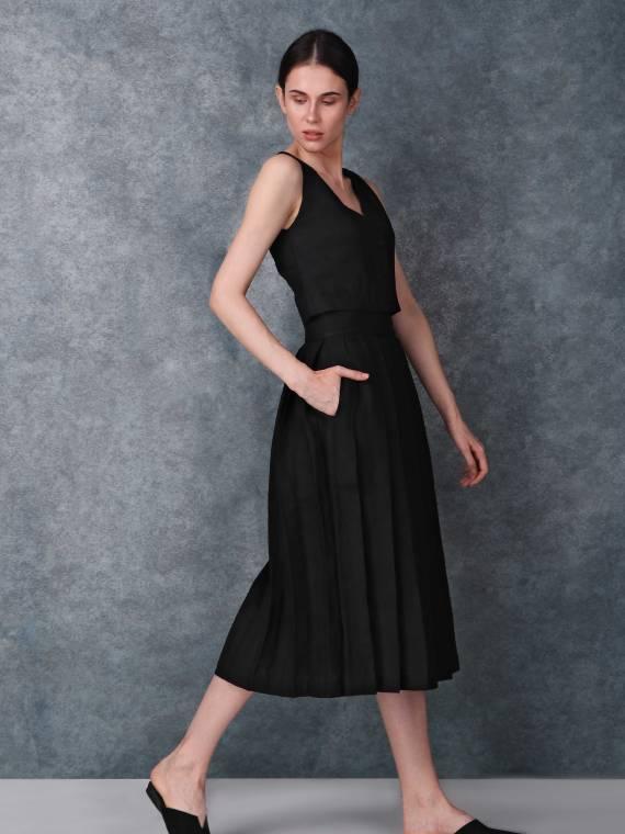 Black High Waist Linen Skirt