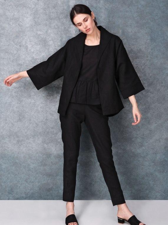 Thick Lapelled Black Linen Dress