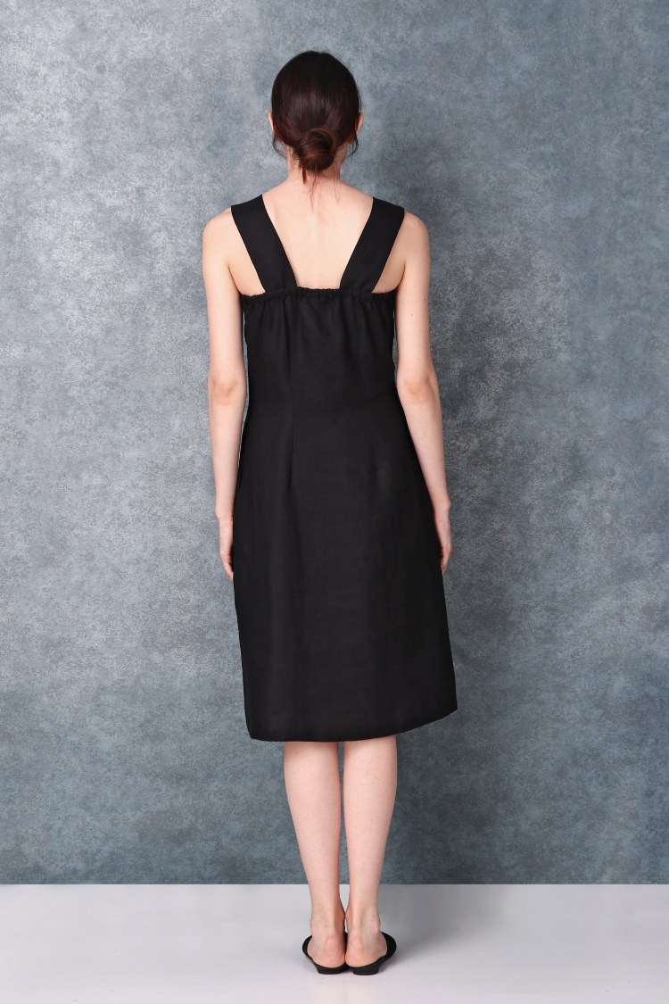 High Slit Black Linen Dress