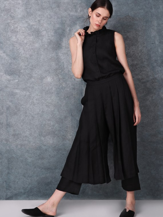 Black High Waist Pleated Pants