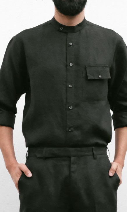 collared black linen shirt