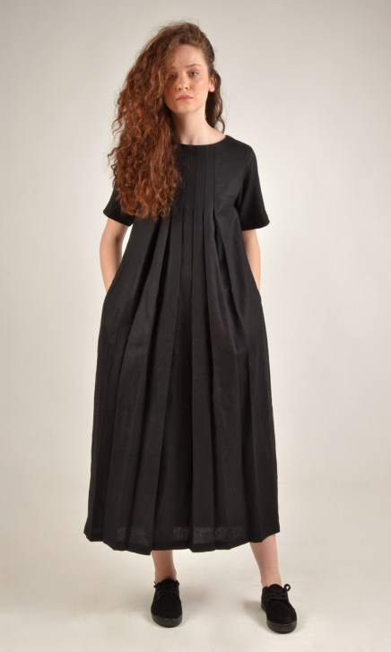 Linen Front Pleated Black Dress