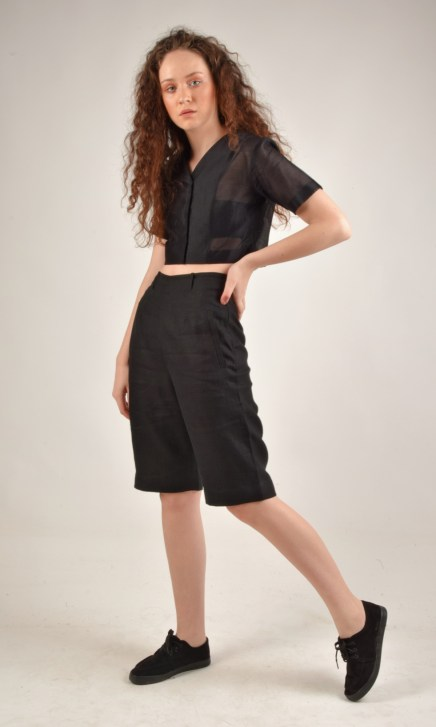 high waisted black linen shorts