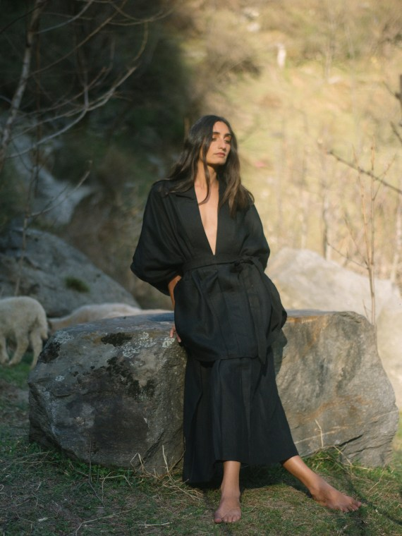 Black Notch Lapelled Linen Overalls