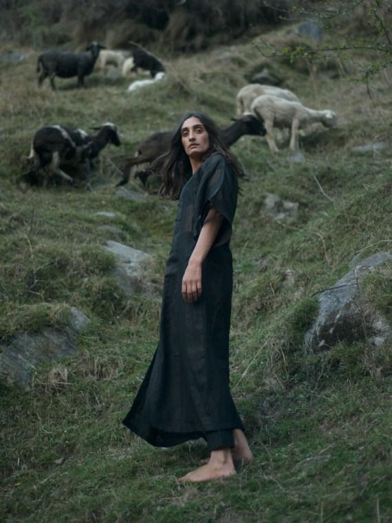 Black Linen Chanderi Striped Dress
