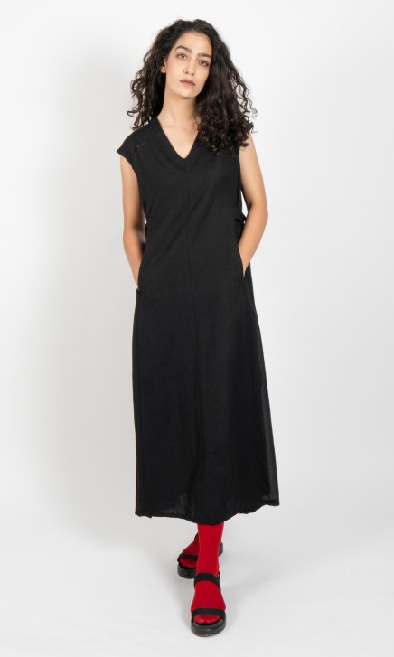 Black Drop Shoulder V Neck Dress