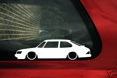 2x LOW Saab 900 Turbo 900s Outline Silhouette Stickers Decal