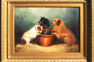 Hungry terriers by a Bowl by George Armfield (1839)