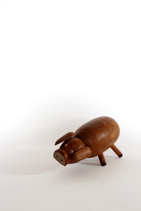 vintage wood pig