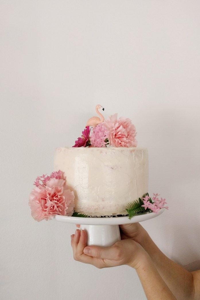 flamingo pink birthday cake