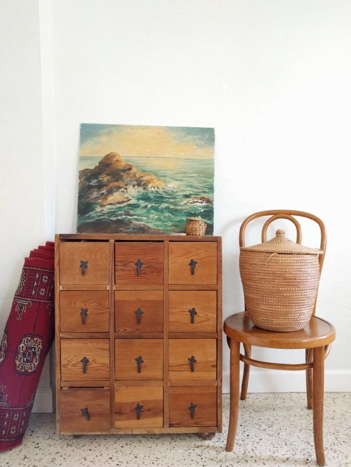 oil painting, persian rug, vintage basket