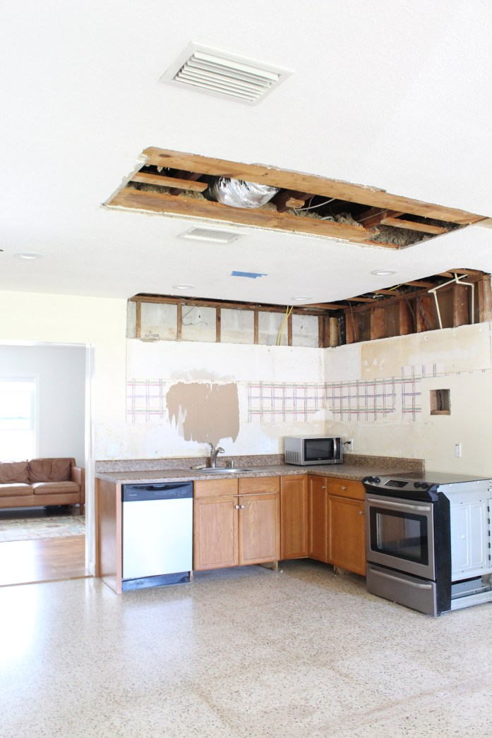 Kitchen soffit and wall removal