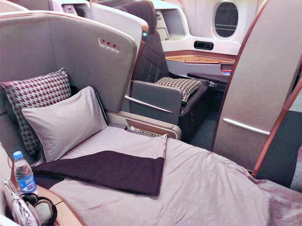 Singapore Airlines A350 business class seat in bed mode