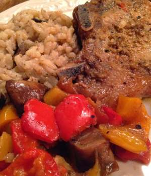 Pork Chops with Veggies and Mushroom Risotto