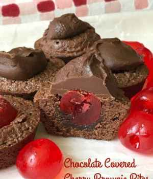 Chocolate Covered Cherry Brownie Bites