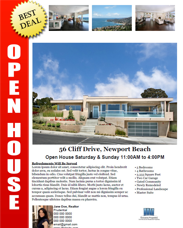 Open house flyer ideas real estate flyers action templates pronofoot35fo Images