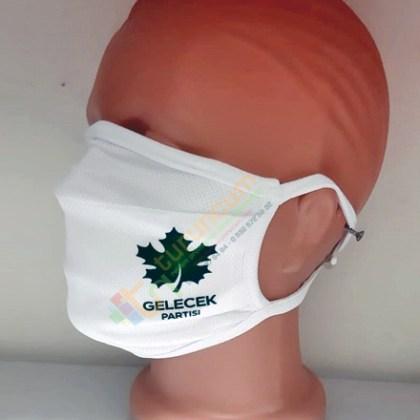 Gelecek Partisi Logo Baskılı Yıkanabilir Kumaş Maske Siyasi Parti Kongre Maskesi