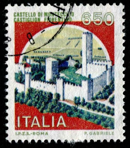 Il Castello di Montecchio Vesponi è stato stampato sul francobollo di Castello d'Italia