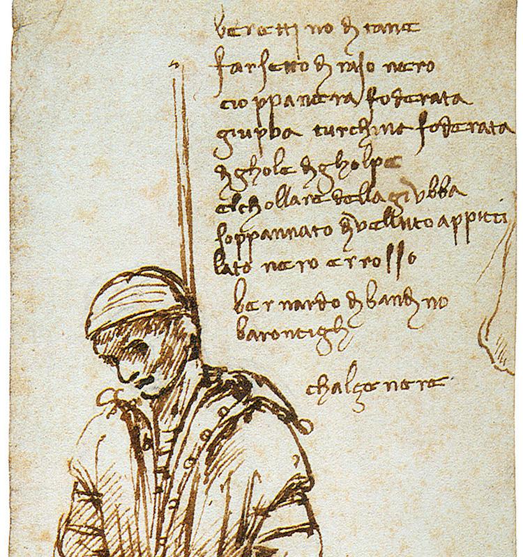 Disegno dell'impiccagione di Bernardo Bandini realizzata da Leonardo da Vinci