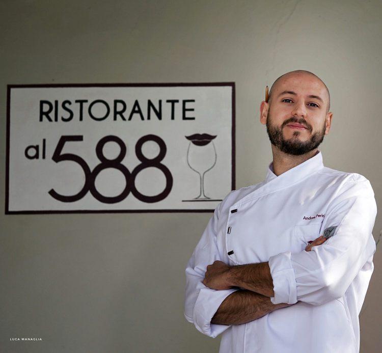 Lo Chef Andrea Perini del ristorante Al 588, ristorante fiorentino gourmet dedicato all'olio EVO