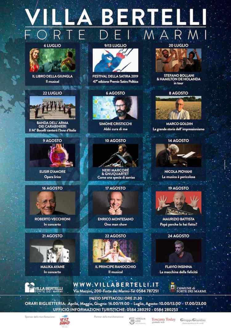 Il calendario degli Eventi a Villa Bertelli per l'estate 2019. Un programma ricco di arte, musica e spettacoli per grandi e piccini