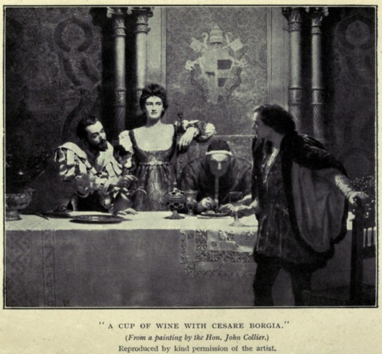 Il dominio dei Borgia sul Vaticano: Lucrezie a Cesare cenano col padre papa Alessandro VI.