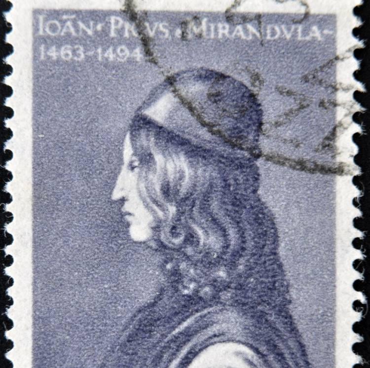Francobollo con l'effige di Pico della Mirandola