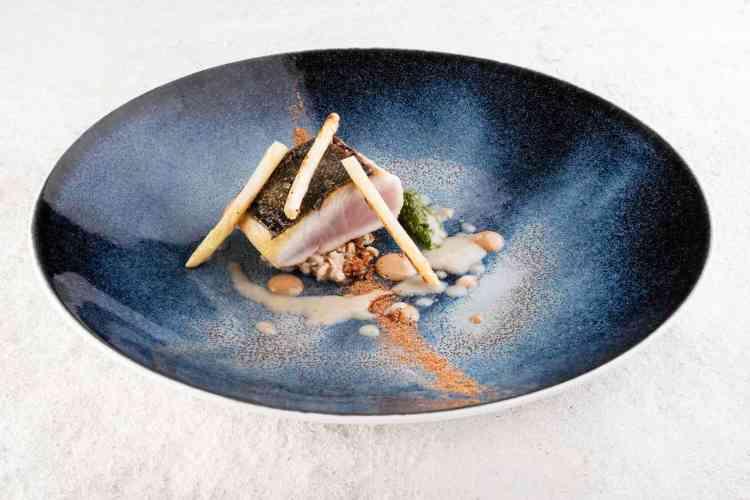 Chef Landi - Ricciola con farro coghi purea di erbe e cozze