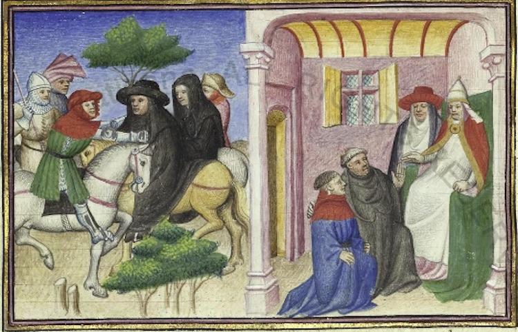 Il rapimento dell'abate di Cluny da parte di Ghino di Tacco, miniatura originale