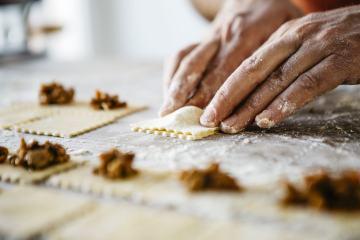 I tortelli ripieni di funghi sono tra i piatti tipici del Monte Amiata