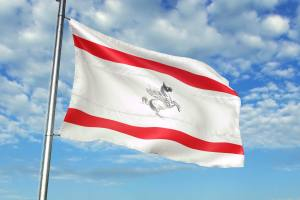 Bandiera della Toscana su cielo blu