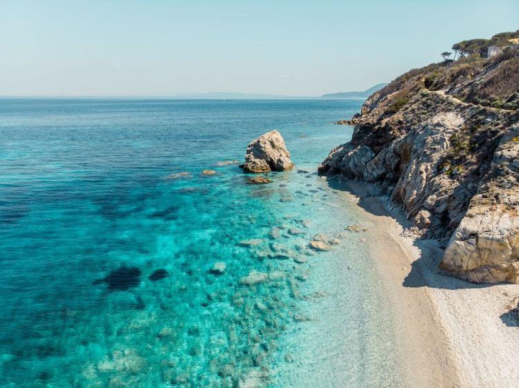 Spiaggia di Sansone all'Isola d'Elba, l'isola più grande dell'Arcipelago toscan