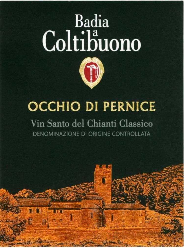 Etichetta della bottiglia Occhio di Pernice di Badia a Coltibuono, eccellenza tra i vini pregiati toscani