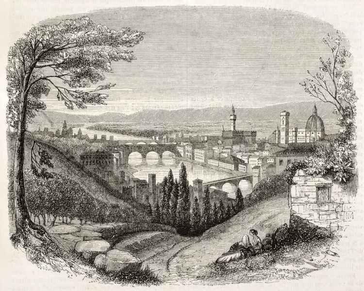 Un'immagine di Firenze da San Miniato del 1845, prima dei lavori di Firenze capitale