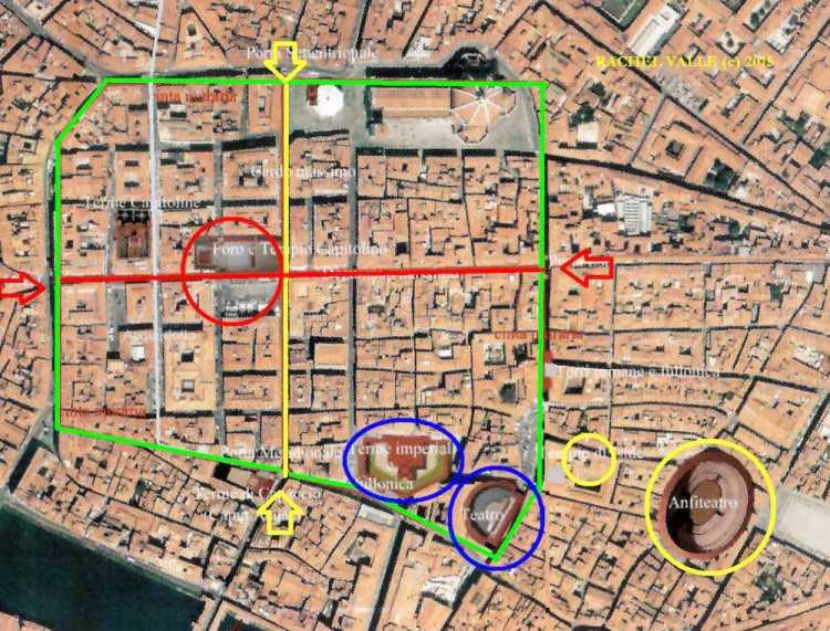 Mappa di Florentia, l'antica Firenze romana. ©RachelValli
