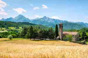 Chiesa in Lunigiana con campi di grano in primo piano e Alpi Apuane sullo sfondo