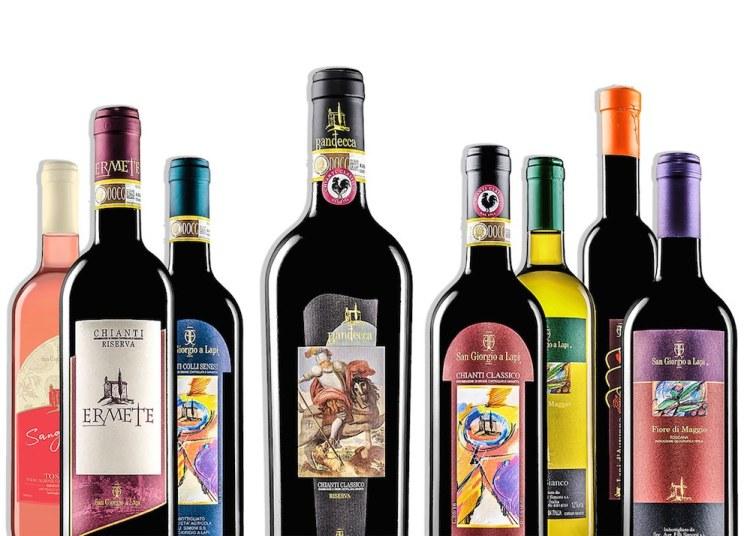 Le linea di etichette di vino toscano di San Giorgio a Lapi: Chianti Classico, Chianti Colli Senesi e IGT Toscana