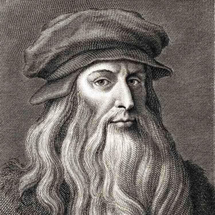 Ritratto in bianco e nero di Leonardo da Vinci